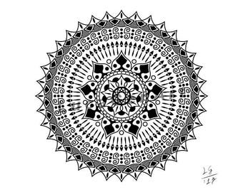 Mandala Digital Drawing, Instant Download, Decoration, Digital Print, Meditation, Yoga, Mandala Art, Sacred Geometry, Zen Art