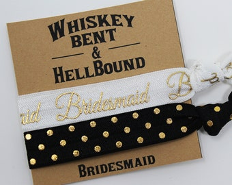 Whiskey Bent and Hell Bound Bridesmaid Hair Ties, Bachelorette Favors, Elastic Wrist Bands/Bracelets, Bachelorette Party Favors