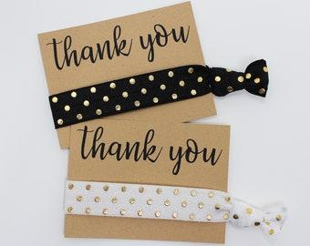 Thank You Hair Ties, Elastic Hair Ties, Elastic Wrist Bands/Bracelets, Party Favors, Wedding Favors, Hair Tie Favors