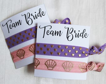 Team Bride Hair Ties, Elastic Hair Ties, Elastic Wrist Bands/Bracelets, Party Favors, Wedding Favors, Hair Tie Favors