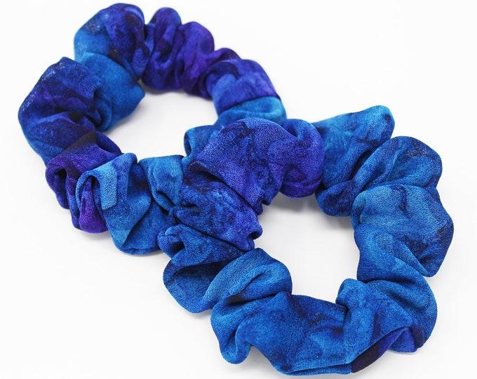 Favors Gift Gentle Hair Elastic Blue and Purple Hair Tie Handmade Hair Accessory One Hair Scrunchie Abstract Colors Hair Scrunchie