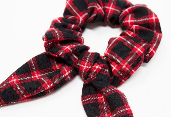 Plaid Bow Hair Scrunchies Hair Ties Gentle Hair Elastic  96cdd32de92