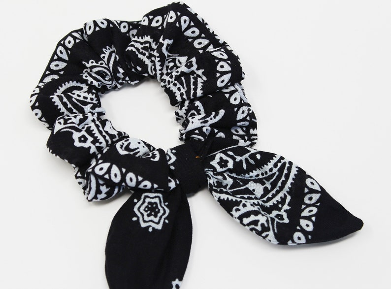 9c464d529 Bandana Print Bow Hair Scrunchie Scrunchy Hair Tie Gentle | Etsy