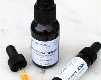Botanical Renewing Facial Serum // All Natural Moisturizing Facial Serum // Infused Botanical Facial Serum