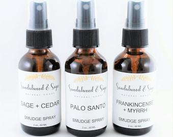 Bundle of Two Smudge Sprays // Two-Pack of Smudge Sprays // Sage and Cedar Smudge Spray // Palo Santo Smudge Spray // Frankincense & Myrrh