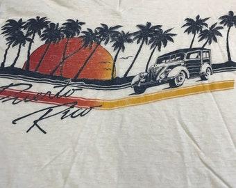 1970s Puerto Rico surf wagon V-neck tri blend t-shirt large