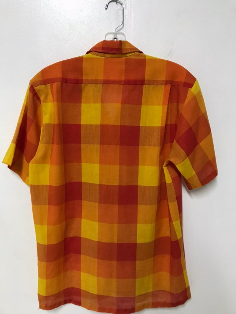 1960s sears and roebucks red yellow orange checkered shirt 14 14 12 14.5 60s mod casual office picnic blanket