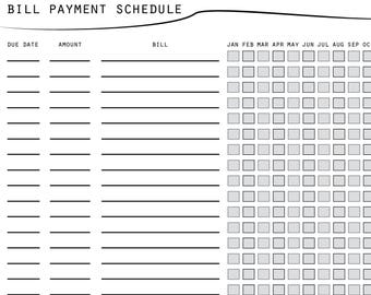 bill payment schedule printable bill payment checklist finance planner vendor payment log annual bill tracker bill organizer sheet