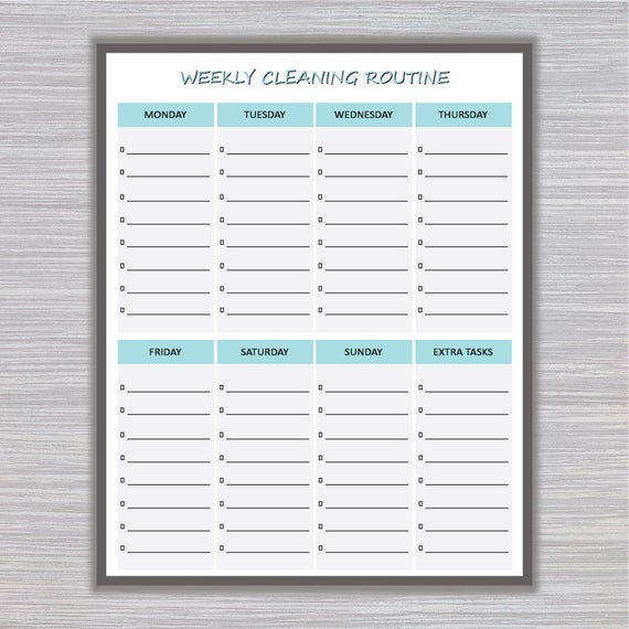 graphic relating to Printable Weekly Cleaning Schedule named Weekly Cleansing Timetable Printable Weekly Cleansing Routine Each day Cleansing Listing Cleansing Undertaking Record Cleansing Printable