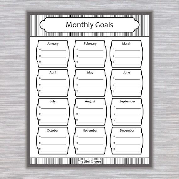 monthly goals printable monthly task checklist organizer etsy
