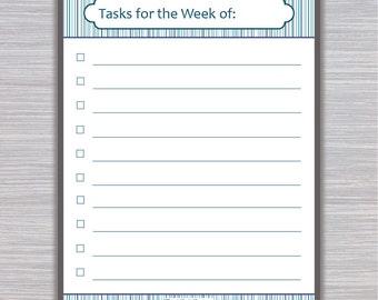 Weekly Tasks Printable | Weekly Task Checklist | Organizer Printable | Home Organizer | To Do List | Task List Printable | 3 Color Checklist