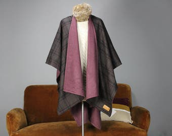 Wool Reversible Cape