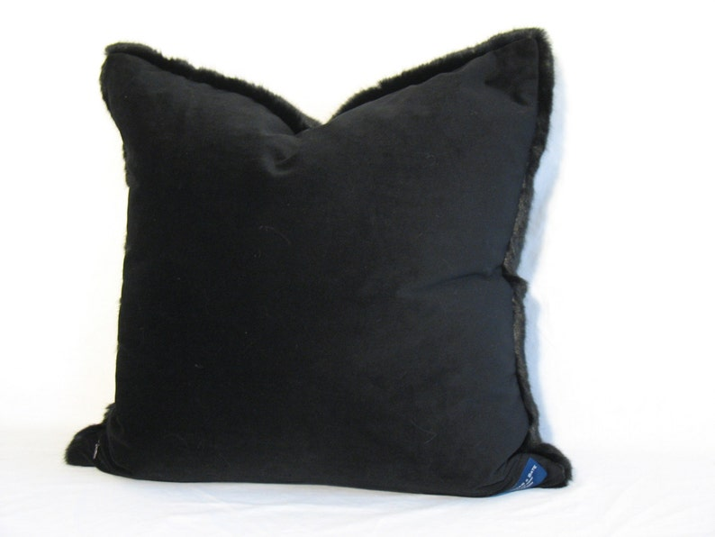 Real Looking and feeling Black Faux Mink FauxMINK Luxe real feelinglooking faux black Mink 22 sq or 14x22 Lumbar Rich Pillow Cover