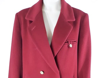 24f0ccd700b 80 s Women s Overcoat Fall Winter True Red 100% Pure Wool Full Length Water  Repellant Super Lux Vintage by FORECASTER of BOSTON Size 13 14