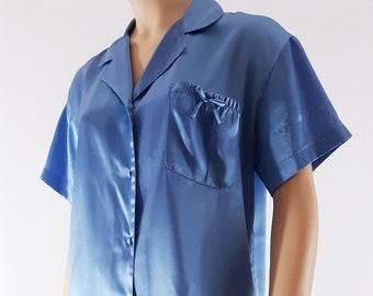 90 s Women s Pajamas Sleepwear 2 Piece Top Shorts Blue Satin Short Sleeves  Oversized Elegant Chic Loungewear Vintage by MORGAN TAYLOR Size S 8d72d6f43