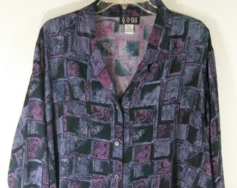 c23a1f13dc9 Plus Size Women s 90 s Shirt Top Blouse Long Sleeve 100% Silk Deep Purple  Multishades Geometric Graphic Arty Drapey Chic by QUO-SILK Size 3X