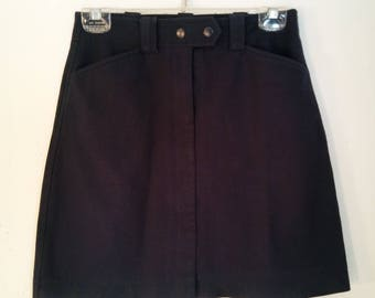 e0fe9028b42f 90's Women's Skirt Vintage Super Cute Sexy Fitted Stretchy Dark Blue Black  High Waisted Mini Skirt by ANN TAYLOR Loft Size 0