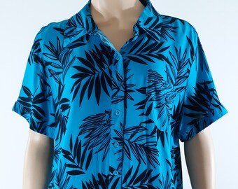 aff33d49 80's Women's Hawaiian Shirt Short Sleeve Blue Black Floral Tropical Button  Down 100% Rayon Darts Excellent Vintage by BASIC EDITION Size L