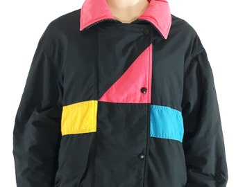 e2128a6d10 80 s Ski Jacket Women s Black Pink Blue Yellow Geo Colorblock Hooded Super  Warm Vintage Parka Coat Excellent Condition Cute! by AFRC Size 16
