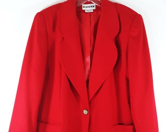 5bf983e0f1e 80 s Women s Blazer Jacket Coco Channel Inspired Red Geo Design Chic Jackie  O Fully Lined Wool Lux Gorgeous Vintage by JOAN LESLIE Size 16W