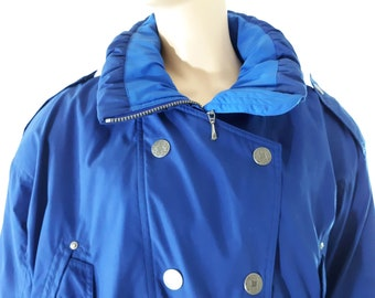 33f3437191 90 s Women s Ski Jacket Blue Quilted Drawstring Unique Collar Designer Snow  Parka Coat Sportswear Like New Luxury by SKIING PASSPORT Size M