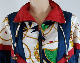 80 s Women s Jacket Nautical Colorful Primary Colors Gold Luxury Chic Beach  Bomber Excellent Gorgeous Vintage Windbreaker by RE Sport Size M 0063dc806