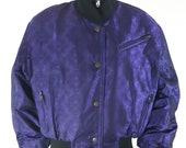 90 39 s Women 39 s Ski Jacket Designer Purple Black Irridescent Quilted Posh Lux Satin Trim Snow Bomber Parka Coat by SKEA PARIS Vail Size 10