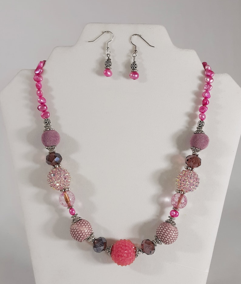 Womens Handmade Jewelry Necklace Earrings Set Artist Designed Vintage Inspired Purple Pink Freshwater Pearls Multi Bead Mix GORGEOUS Gift