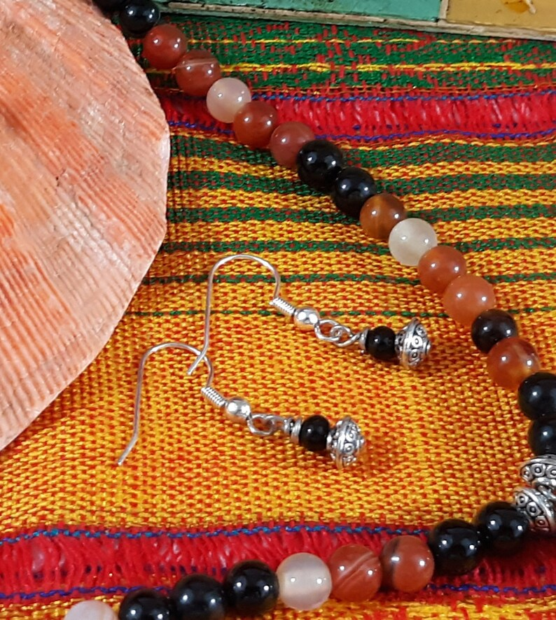 Womens Agate Necklace Earrings Jewelry Set Handcrafted Artist Designed Black Red Orange Gemstone Multi Bead Mix GORGEOUS Great Gift Unisex