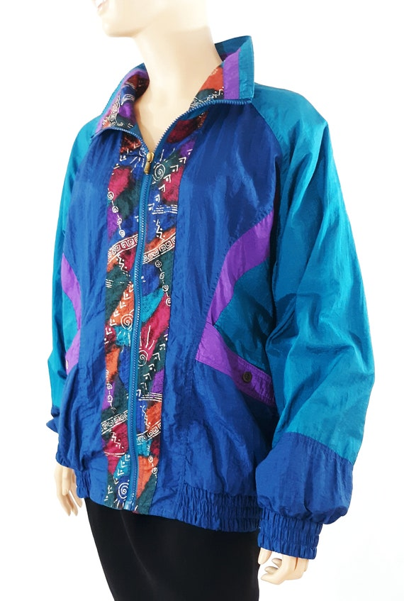 80/'s Women/'s Jacket Geo Colorblock Blue Metallic Gold Lined Bomber Windbreaker Activewear Excellent Condition Vintage by CABIN CREEK Size L