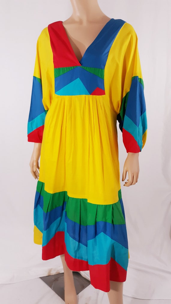 70s Caftan Dress STAR of SIAM Womens A-line Color