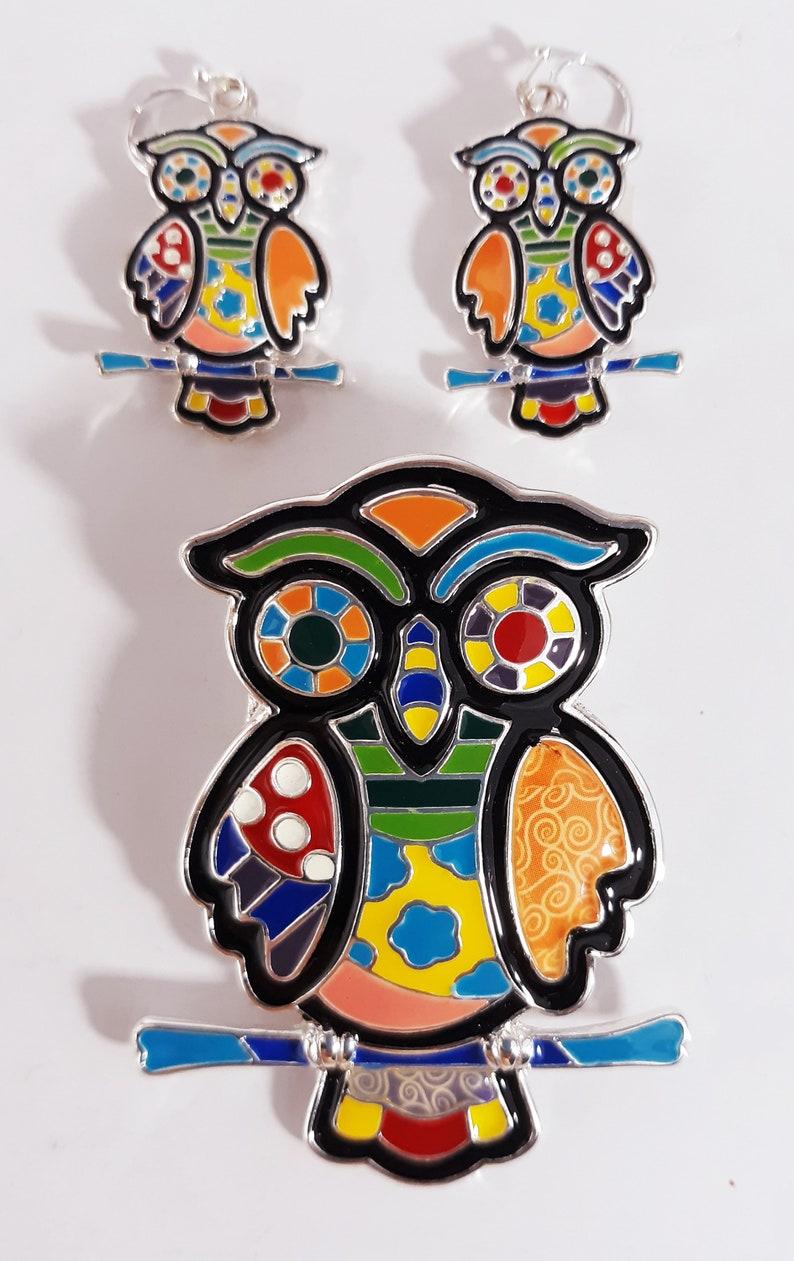 Handmade Pendant Owl Earrings Set Womens Girls Rainbow Multicolor Artsy Mosaic Silver Tone Enamel Boho Jewelry Dangle Gift Craft Charm