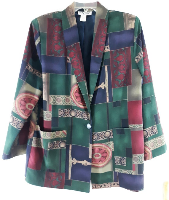80/'s Women/'s Blazer Jacket Jewel Tone Geo Colorblock Artsy Purple Green Lined Like New Excellent Vintage Chic by KENNINGSTON SQUARE Size M
