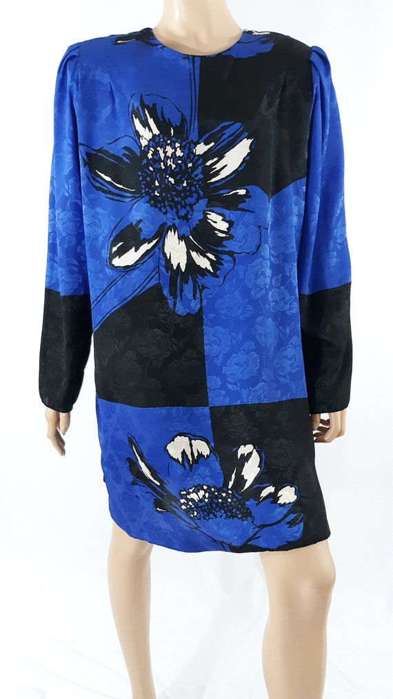 80's Women's Dress Long Top Blue Black Wild Emboss