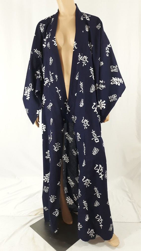 Japanese Kimono Robe Women's Mens Black White 100%