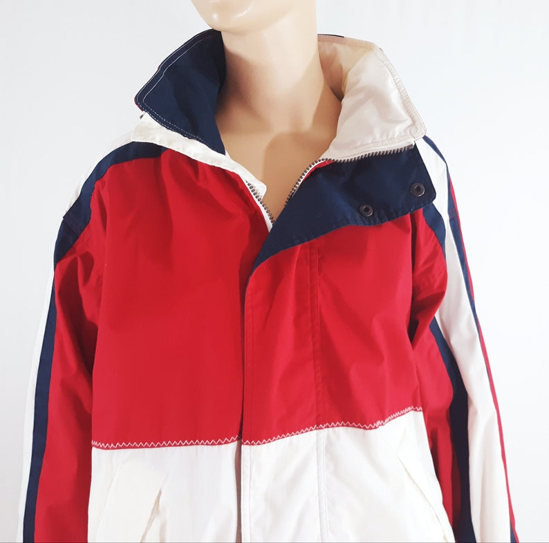 80/'s Men/'s Jacket Nautical Yacht Boating Sports Outerwear Red White Blue Bomber Windbreaker Classic Excellent Vintage by TRADER BAY size S