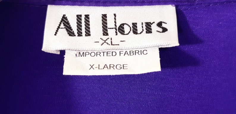 80/'s Women/'s Set 2 Piece Long Sleeve Top Pant Royal Purple Button Down Comfortable Resort Excellent Condition Vintage by ALL HOURS Size XL