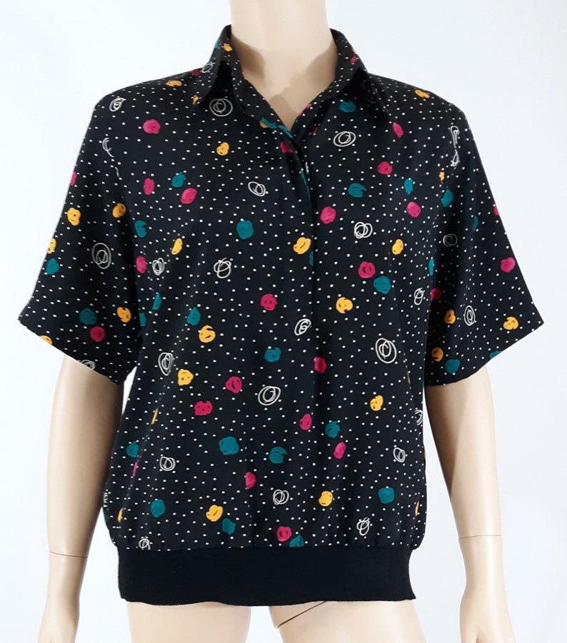 51f5a91d54a819 80's Women's Shirt Blouse Top Short Sleeve Geometric | Etsy