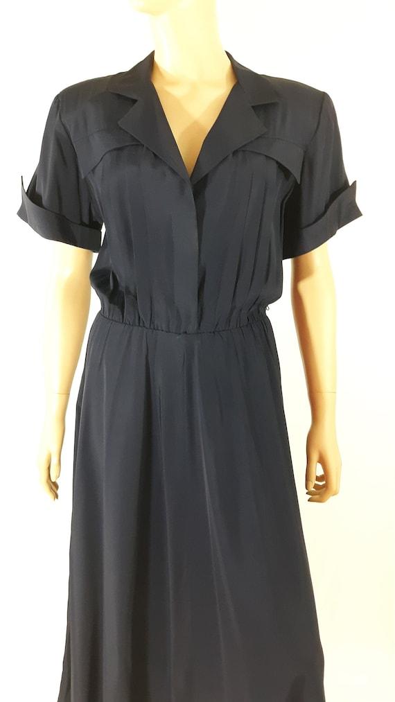 80's Dress Women's 40's Style Navy Blue Full Circl