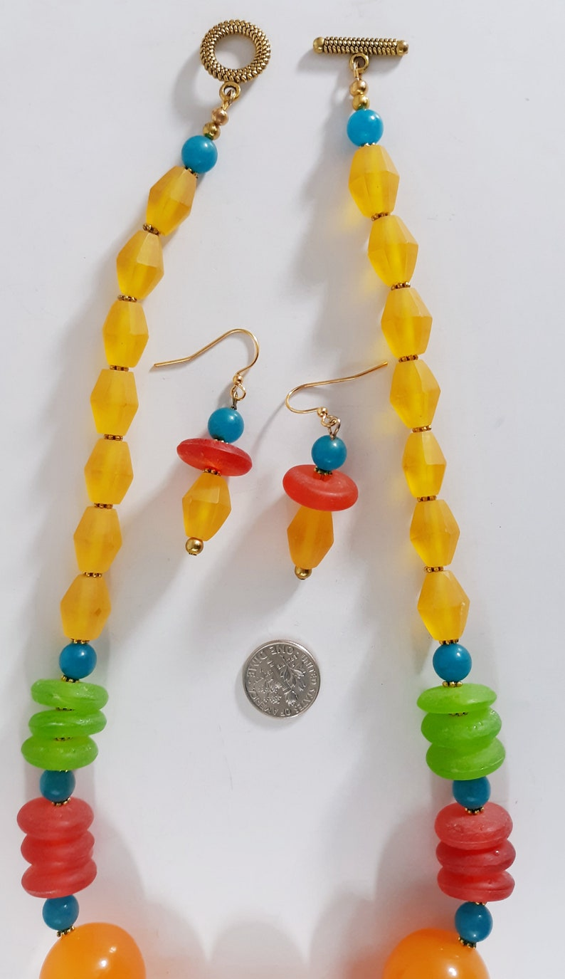 Necklace Womens Handmade Jewelry Necklace Earrings Set Artist Designed Red Yellow Green Blue Gemstone Multi Bead Mix GORGEOUS Great Gift