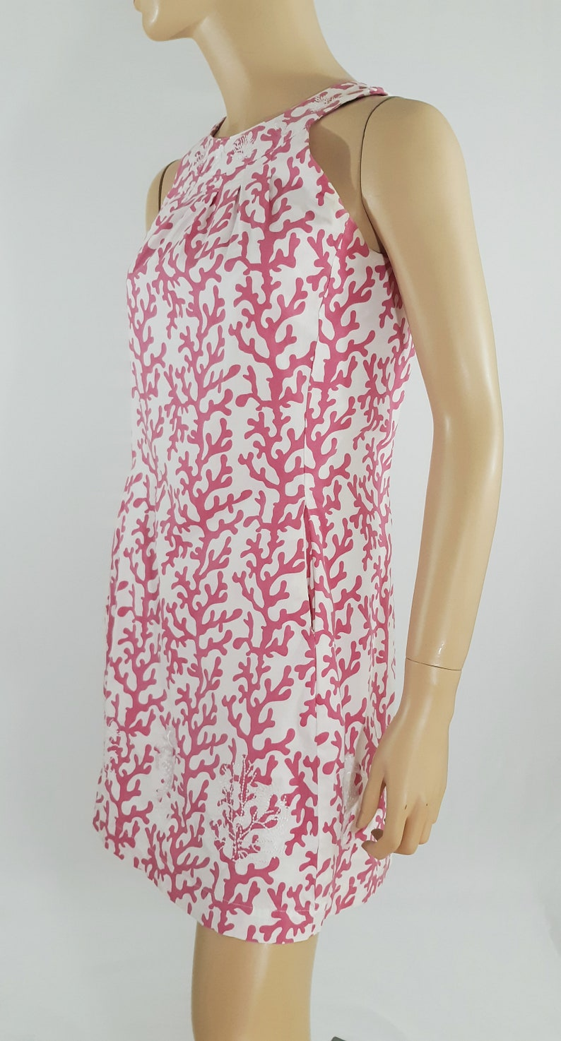 Women/'s Dress Pink White Coral Reef Seahorse Cool Neckline Sleeveless 95/% Cotton Stretchy Romantic Excellent Vintage by DIZZY LIZZIE Size XS