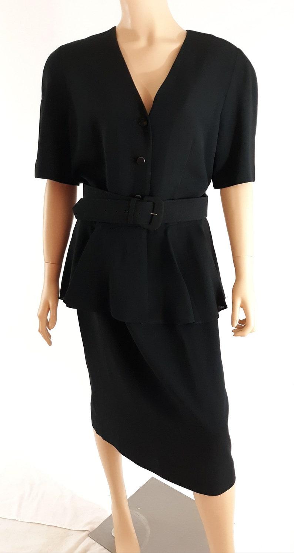 190a6ea80e6 80 s Women s Plus Size Dress Black Belted Peplum Short