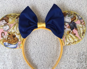 Beauty and the Beast Minnie Mouse Ears, Belle Mickey Ears, Disney princess Ears,