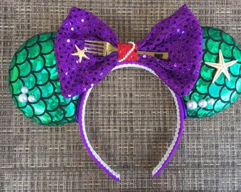 Little Mermaid inspired Minnie Ears, Ariel Minnie Ears, Mickey Ears, Minnie Ears, Disney Ears, Animal Kingdom Ears