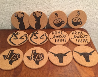 Cork coasters burned set of 2