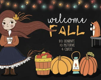 Fall clipart. Autumn pack. Digital Clipart fall clip art,pumpkin clipart Autumn clipart scarecrow clipart harvest clipart. Scrapbooking