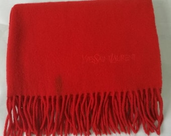 dc315149c44 Wool Scarf YVES SAINT LAURENT Red Color Fashion Accessories Top Exclusive  Brand Designer