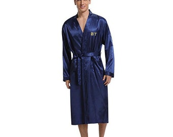 PERSONALIZED Luxury Men's Silky Satin Long Kimono Robe with Your Choice of 3-letters Monogram Embroidery