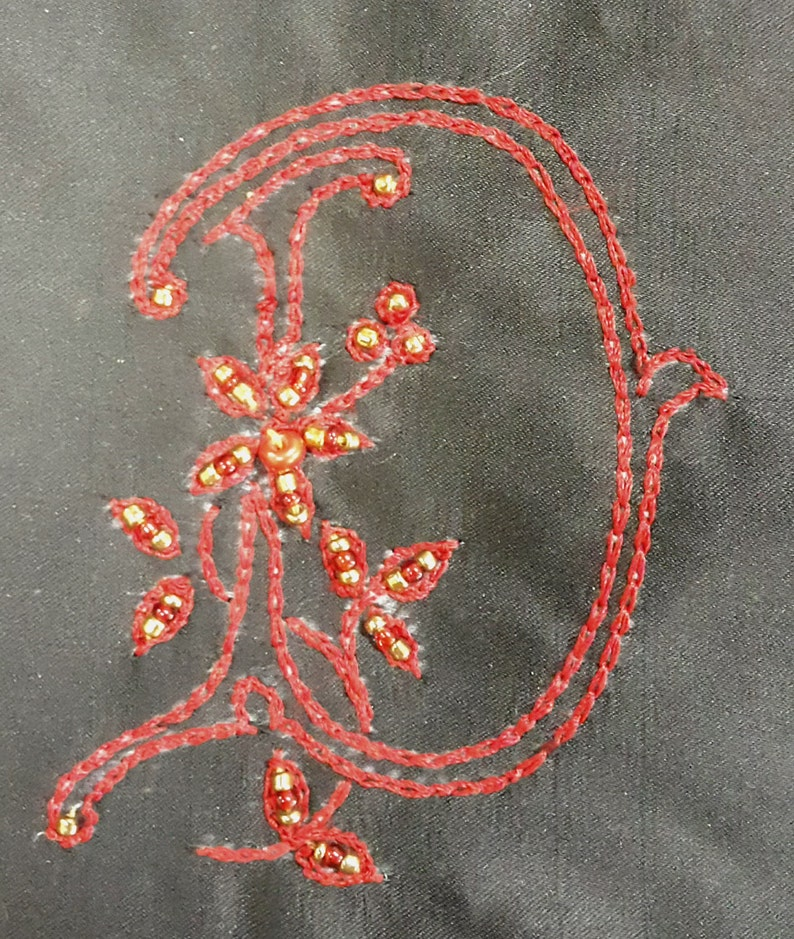 PLUS SIZES Luxurious Satin Pajama Set PJ with Customized Bead Embroidery Monogram Letter