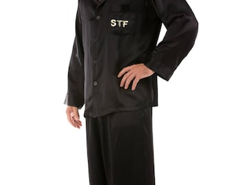 Luxury Men's Satin Pajamas Nightsuit with a Handmade PERSONALIZED Embroidery of Your Choice